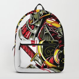 Metal samurai, iron mask Backpack