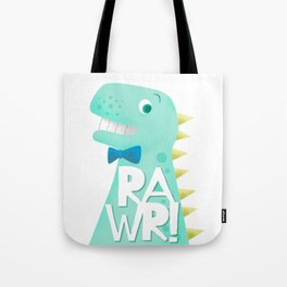 Cute Dinosaur Bow Tie Illustration | RAWR Tote Bag