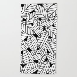 Leaves in Black Beach Towel