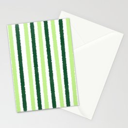 Green Color Stripes Stationery Cards