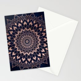 Boho rose gold floral mandala on navy blue watercolor Stationery Cards