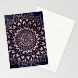 Boho rose gold floral mandala on navy blue watercolor Stationery Cards