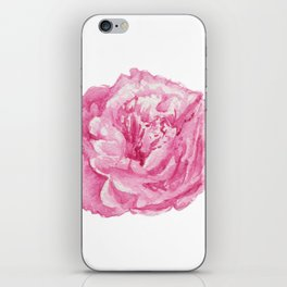 Pink Peony in White iPhone Skin