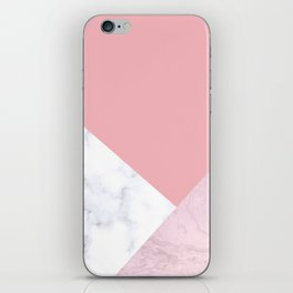 White & pink marble iPhone Skin