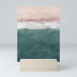 Coral Blush Pink Green Teal Ocean Sunset Shorebreak Abstract Nature Painting Art Print Wall Decor  Mini Art Print
