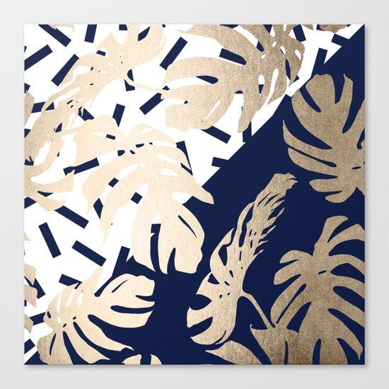 Simply Tropical Nautical Navy Memphis Palm Leaves Canvas Print