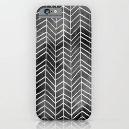 Watercolor Herringbone Pattern (white/black) iPhone Case