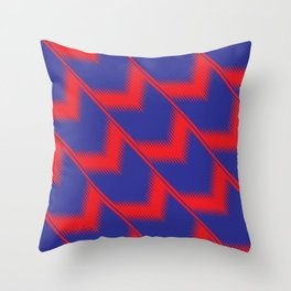 Red and blue diagonal pattern Throw Pillow