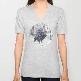Wizard Riding an Elk in the Snow Unisex V-Neck