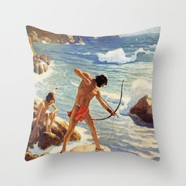 """N C Wyeth Painting """"The First Maine Fishermen"""" Throw Pillow"""