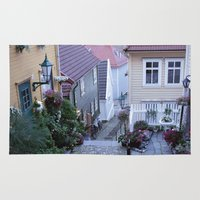 norway Area & Throw Rugs featuring Bergen - Norway  by Cynthia del Rio