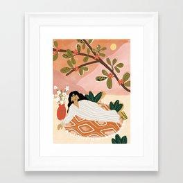 Laying under the full moon Framed Art Print