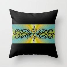 Black Ornaments on yellow blue rainbow Throw Pillow