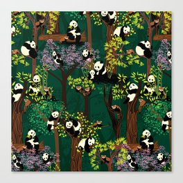 Both Species of Panda - Green Canvas Print