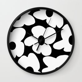 White Retro Flowers Black Background #decor #society6 #buyart Wall Clock