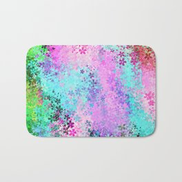 flower pattern abstract background in pink purple blue green Bath Mat