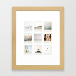 Instant film photo collage | Beach photography retro vintage look Framed Art Print