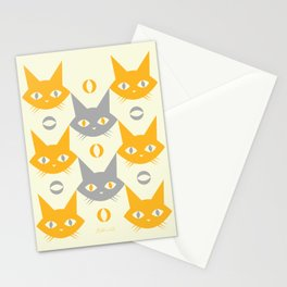 Mid-century Modern Abstract Cat Pattern, Vintage Cats in Illuminating Bright Yellow and Ultimate Grey Trendy Colors of the Year 2021 Stationery Cards