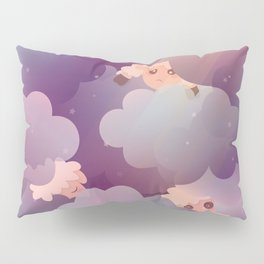 Heavenly Baby Sheep II - Wine Purple / Plum Color, Star Night Sky Background Pillow Sham