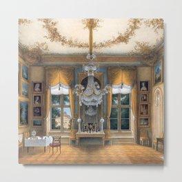 Interior Portrait, Le salon jaune de la reine Louise de Prusse palais de Potsdam by Hans Giersbeg Metal Print