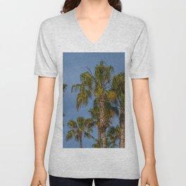 Palm Trees on Laguna Beach in California Unisex V-Neck