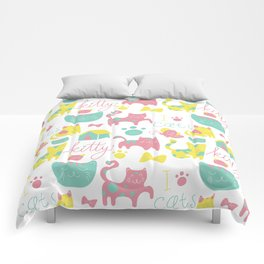 Abstract lime green pink cute cats pattern modern typography Comforters
