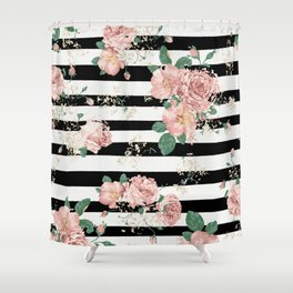 VINTAGE FLORAL ROSES BLACK AND WHITE STRIPES Shower Curtain