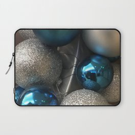 Holiday Blue and Silver Glitter Ornaments Laptop Sleeve