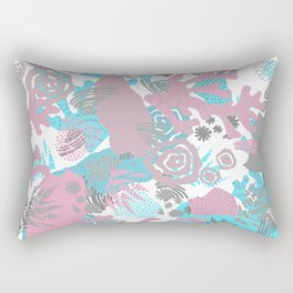 Artistic nautical teal pink gray coral floral pattern Rectangular Pillow