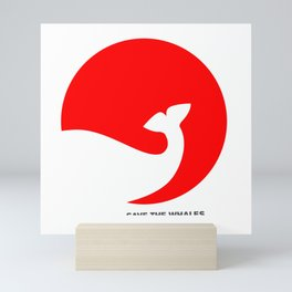 Rising Sun, Sinking Whale (with type) Mini Art Print