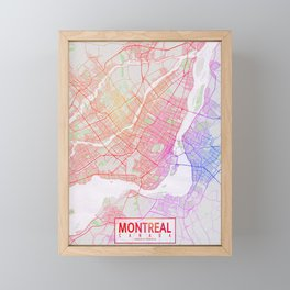 Montreal City Map of Canada - Colorful Framed Mini Art Print