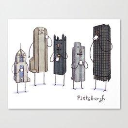 Pittsburgh Skyline Coffee Break- art print  Canvas Print
