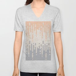 Marble and Geometric Diamond Drips, in Grey and Peach Unisex V-Neck