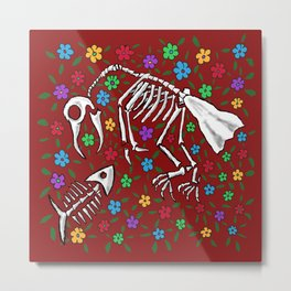 Bird and Fish Skeletons on Bed of Flowers Metal Print