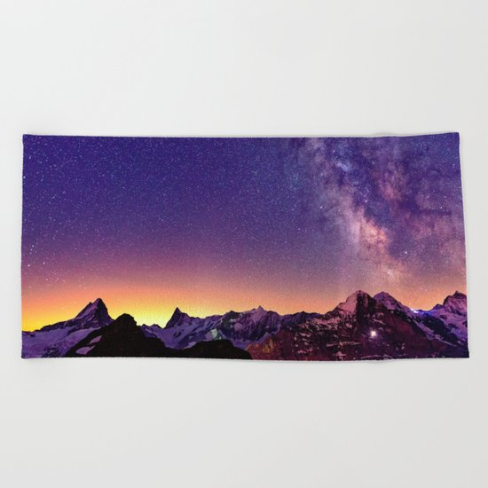 Sunset Mountain #stars Beach Towel