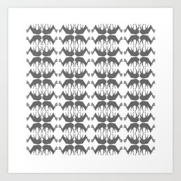 Oh, deer! in white and grey Art Print