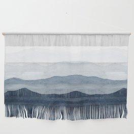 Indigo Abstract Watercolor Mountains Wall Hanging