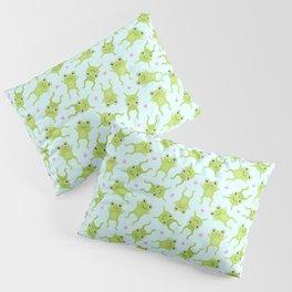 Kawaii Happy Frogs on Blue Pillow Sham