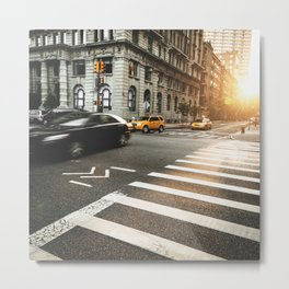 taxi motion blur in nyc Metal Print