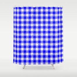 Gingham Blue and White Pattern Shower Curtain
