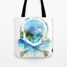 Watercolour Skull & Crossbones with Headphones. Tote Bag