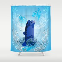 walrus Shower Curtains featuring Cute walrus  by nicky2342