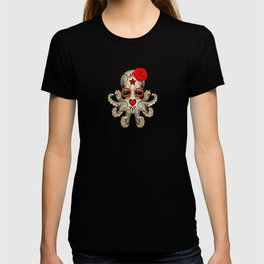 Red Day of the Dead Sugar Skull Baby Octopus T-shirt