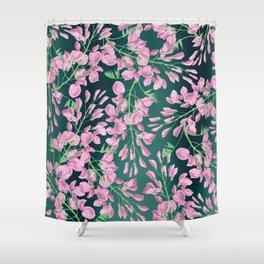 Forest green pink lavender botanical floral pattern Shower Curtain