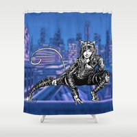 gotham Shower Curtains featuring Gotham Catgirl by Chelestino