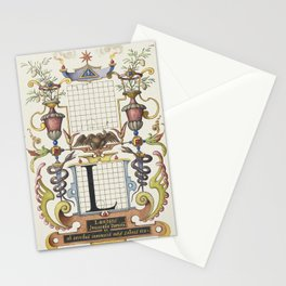Guide for Constructing the Letter L from Mira Calligraphiae Monumenta or The Model Book of Calligrap Stationery Cards