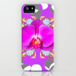 Modern Art Lilac-White Orchid Grey Patterns iPhone Case