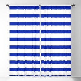 Cobalt Blue and White Stripe Blackout Curtain