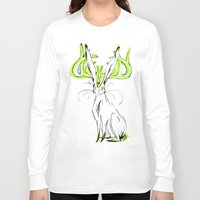 jackalope Long Sleeve T-shirts featuring Jackalope - Chartreuse by Jen Overstreet