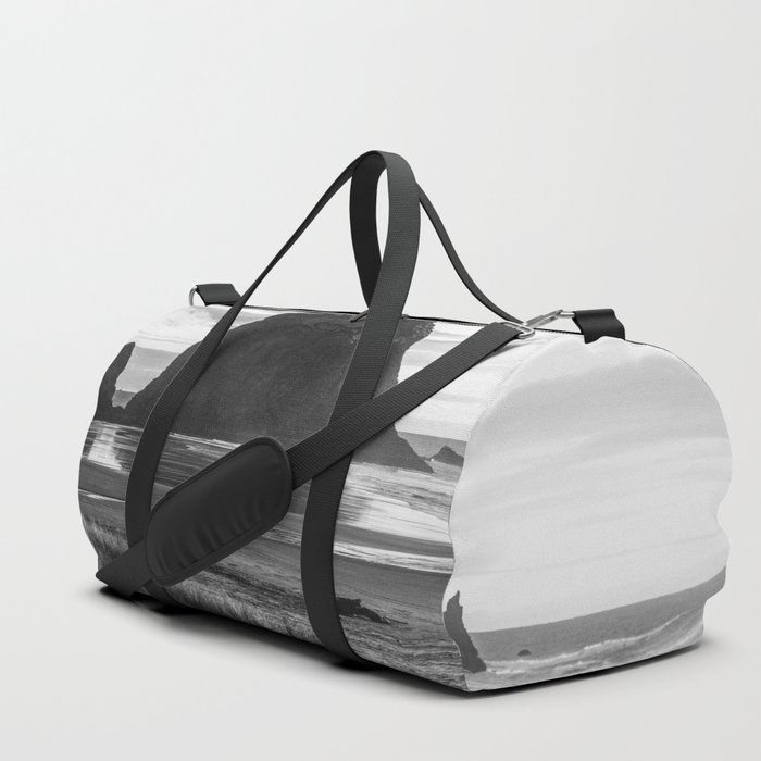 Cannon Beach Sunset - Black and White Nature Photography Duffle Bag